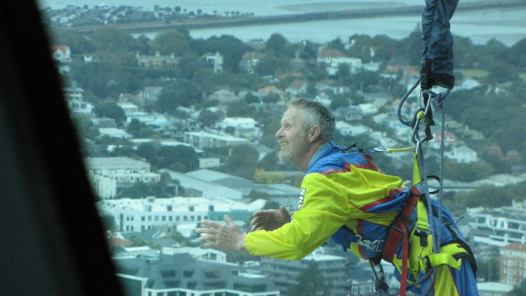 Man about to drop 300 m from Sky Tower